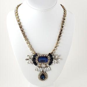 Vintage Statement Necklace Blue Rhinestones